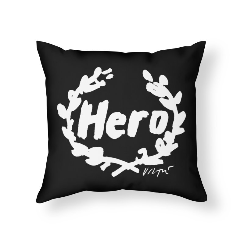 Hero (black) in Throw Pillow by James Victore's Artist Shop