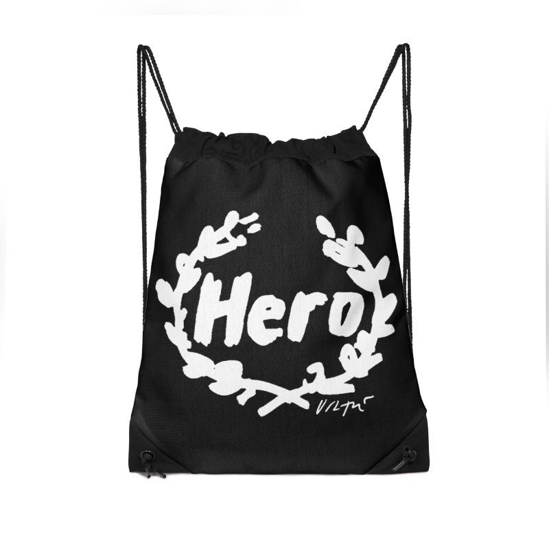 Hero (black) Accessories Drawstring Bag Bag by James Victore's Artist Shop