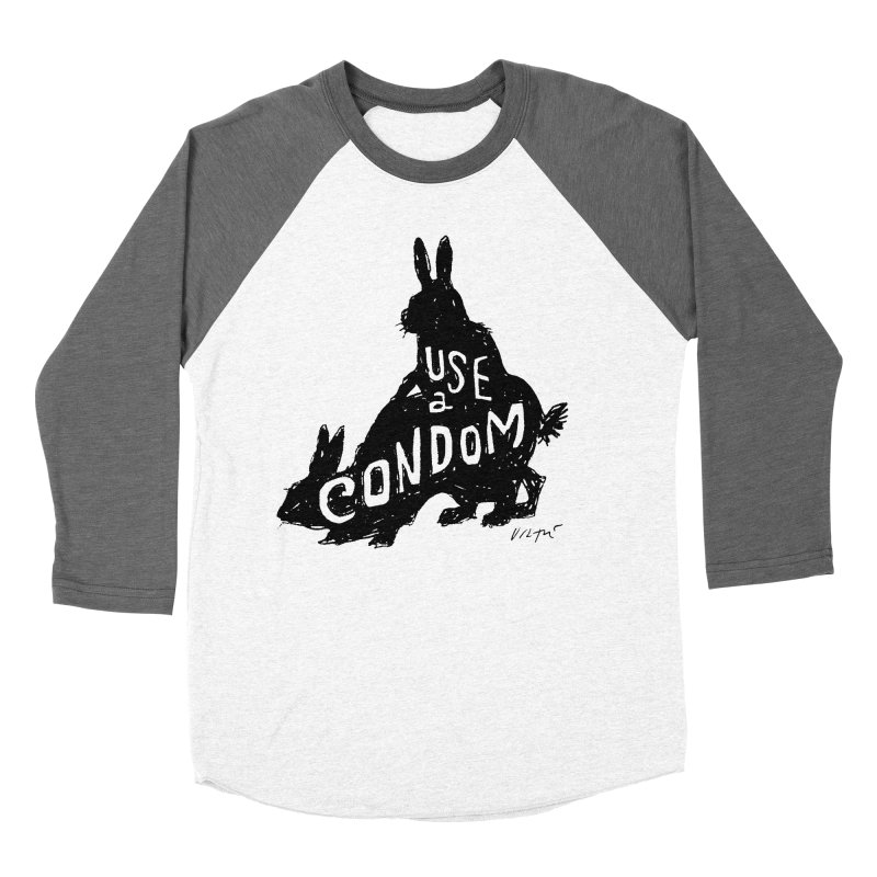 Use a Condom/Bunnies Men's Baseball Triblend Longsleeve T-Shirt by James Victore's Artist Shop