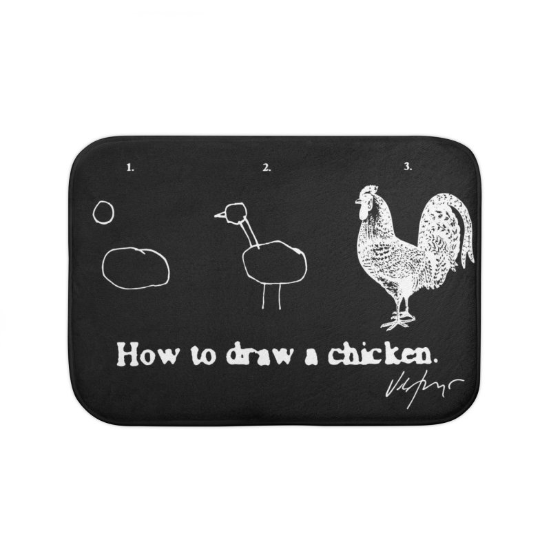 How To Draw A Chicken (black) Home Bath Mat by James Victore's Artist Shop