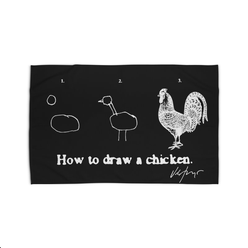 How To Draw A Chicken (black) Home Rug by James Victore's Artist Shop
