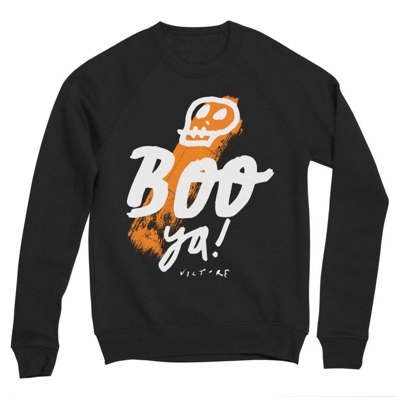 BOO Ya! (black) Women's Sponge Fleece Sweatshirt by James Victore's Artist Shop