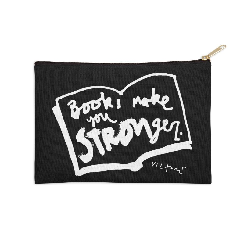 Books Make You Stronger (black) Accessories Zip Pouch by James Victore's Artist Shop