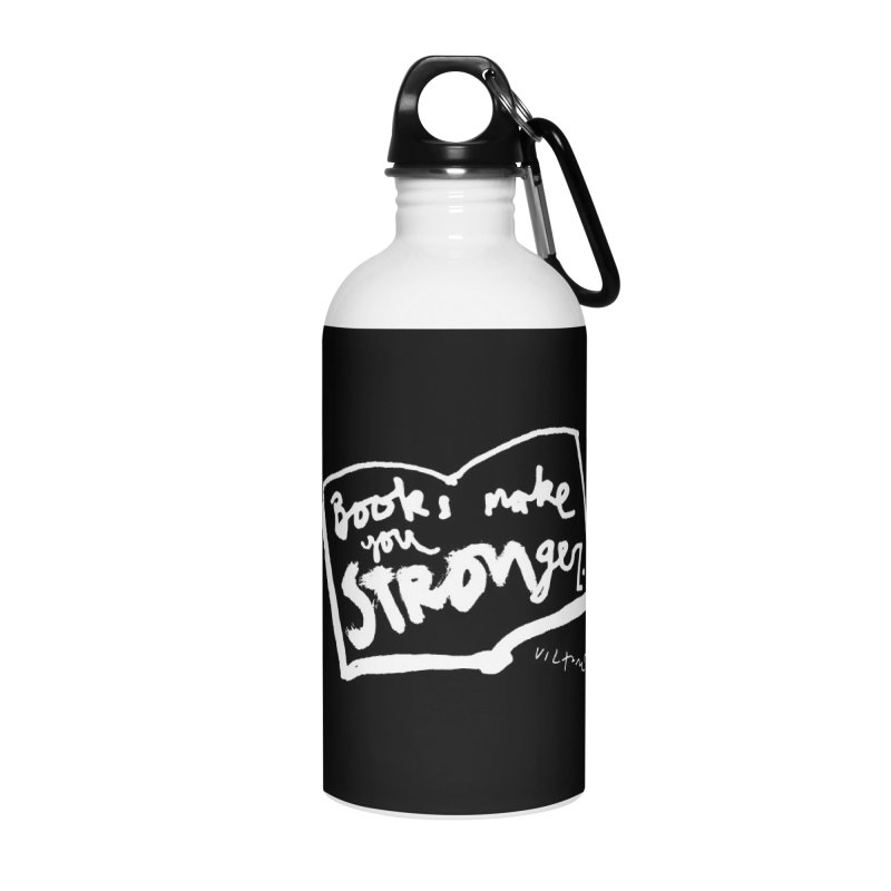 Books Make You Stronger (black) Accessories Water Bottle by James Victore's Artist Shop