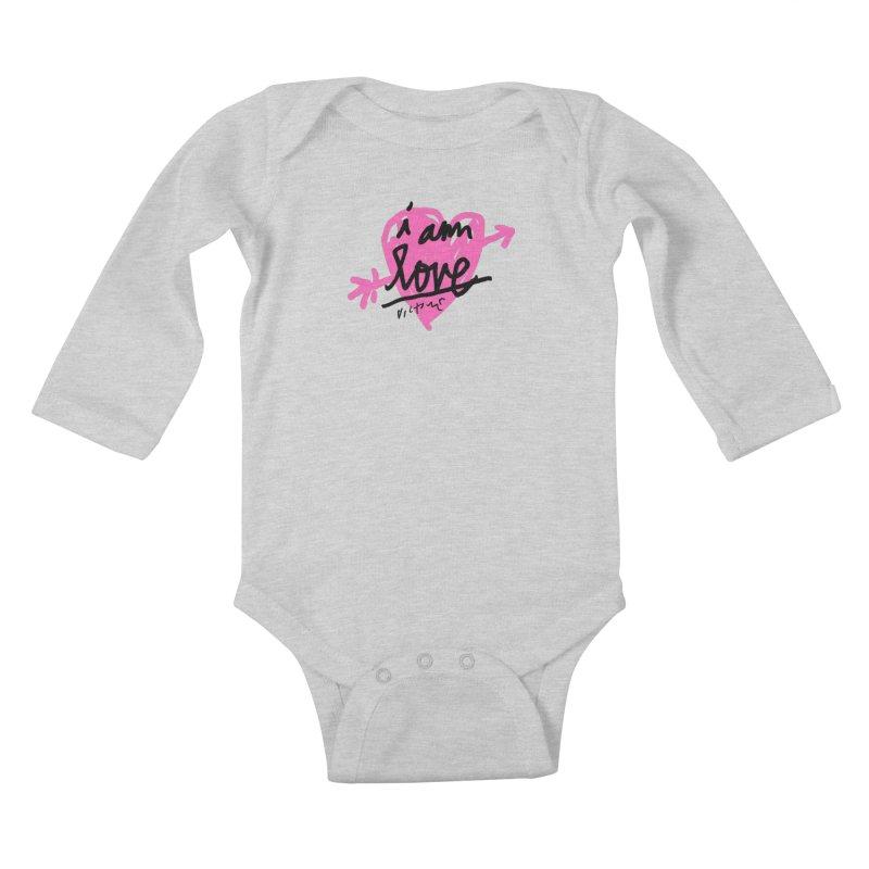 I am Love Kids Baby Longsleeve Bodysuit by James Victore's Artist Shop