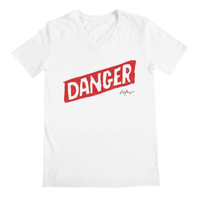 Danger Men's Regular V-Neck by James Victore's Artist Shop