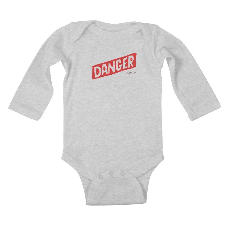Danger Kids Baby Longsleeve Bodysuit by James Victore's Artist Shop
