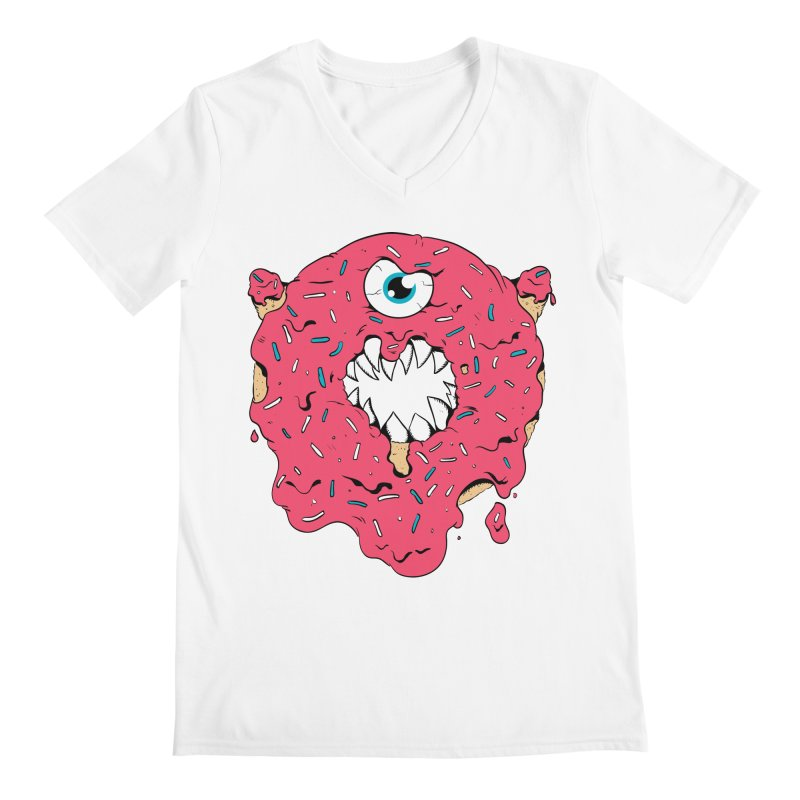 Demon Donut (pink) Men's V-Neck by James Zintel