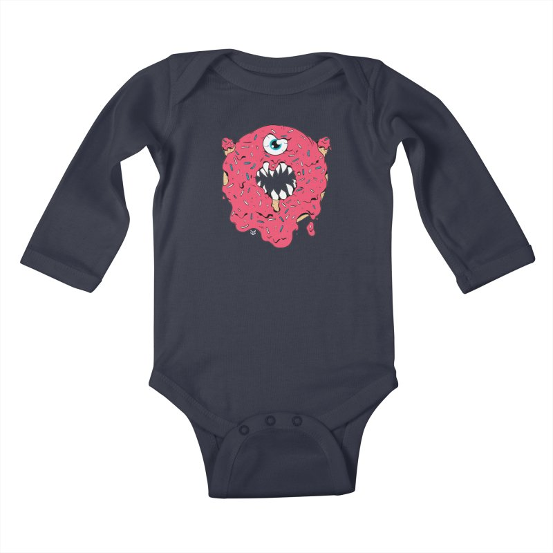 Demon Donut (pink) Kids Baby Longsleeve Bodysuit by James Zintel