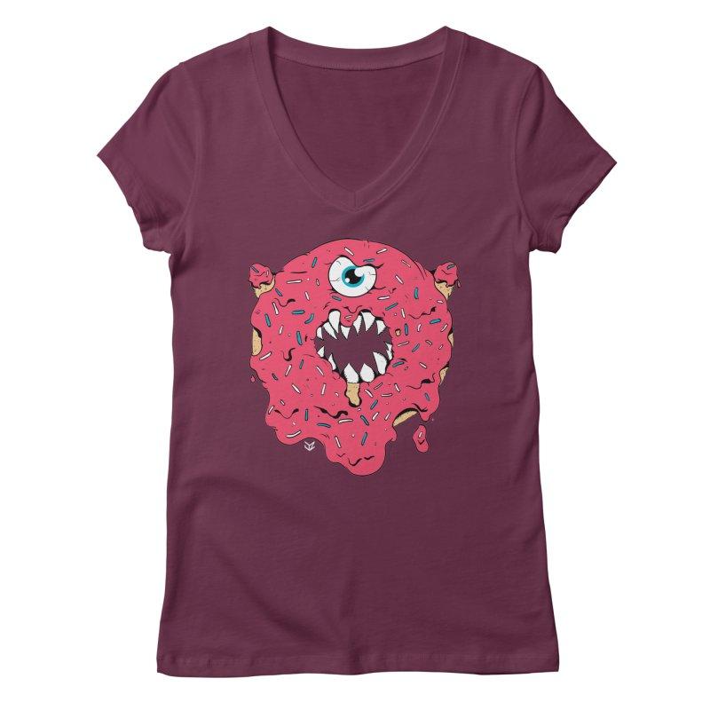 Demon Donut (pink) Women's V-Neck by James Zintel