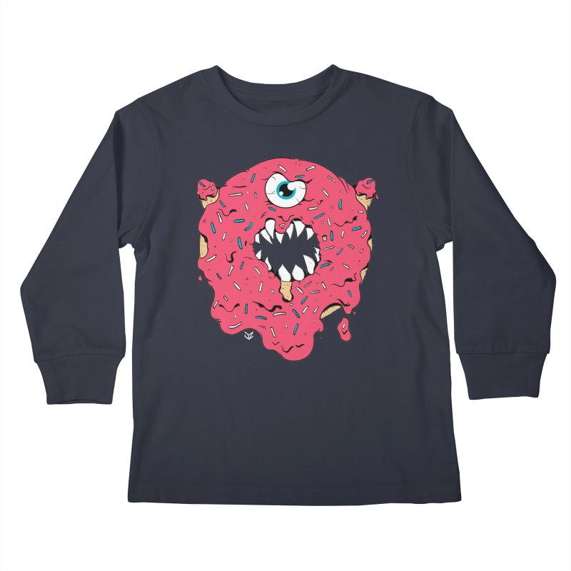 Demon Donut (pink) Kids Longsleeve T-Shirt by James Zintel