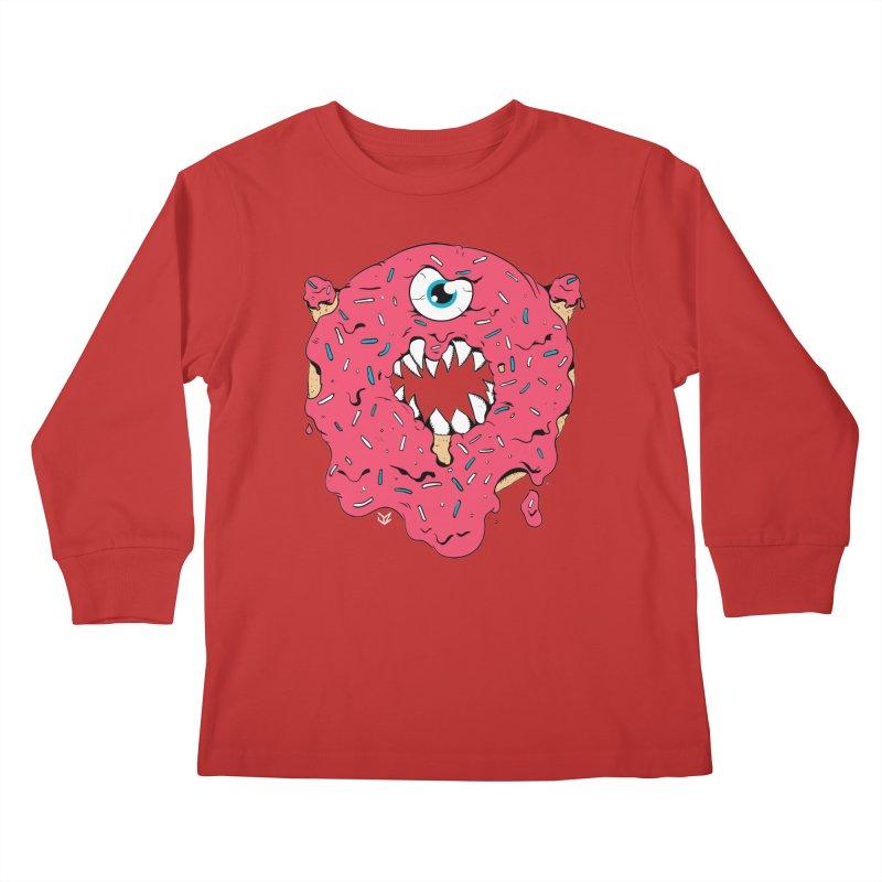 Demon Donut (pink) Kids Longsleeve T-Shirt by James Zintel