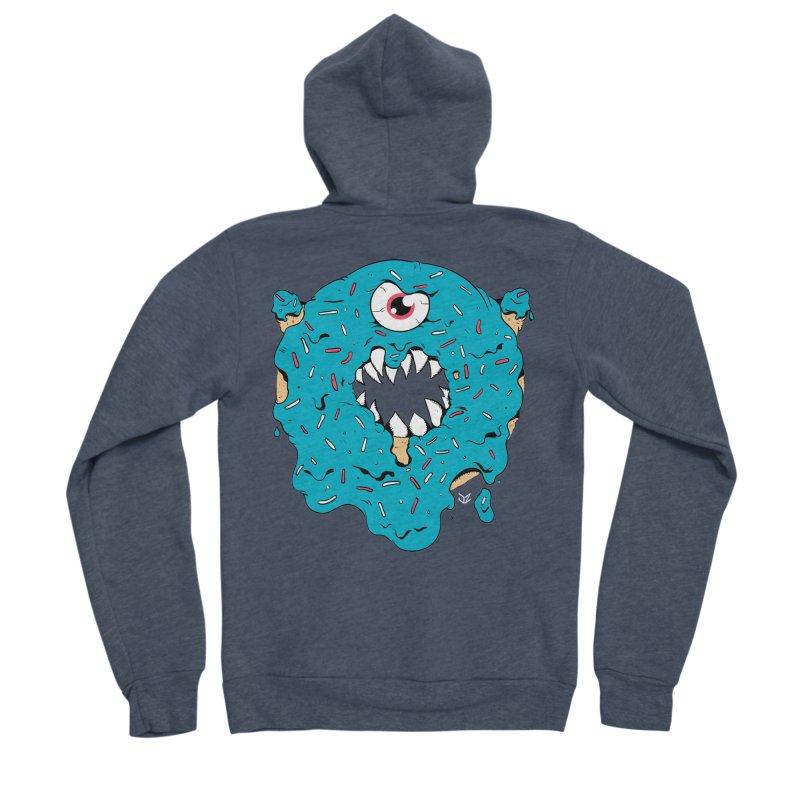 Demon Donut (blue) Men's Zip-Up Hoody by James Zintel
