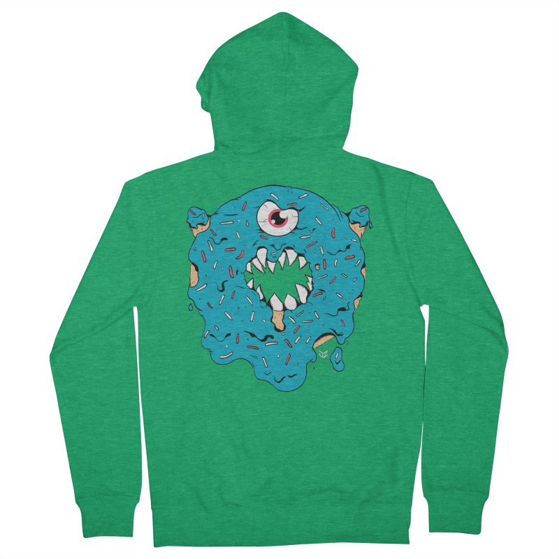 Demon Donut (blue) Men's Zip-Up Hoody by James Zintel