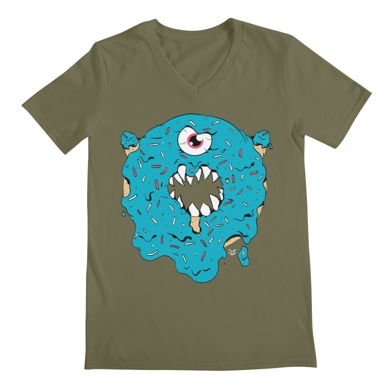 Demon Donut (blue) Men's V-Neck by James Zintel