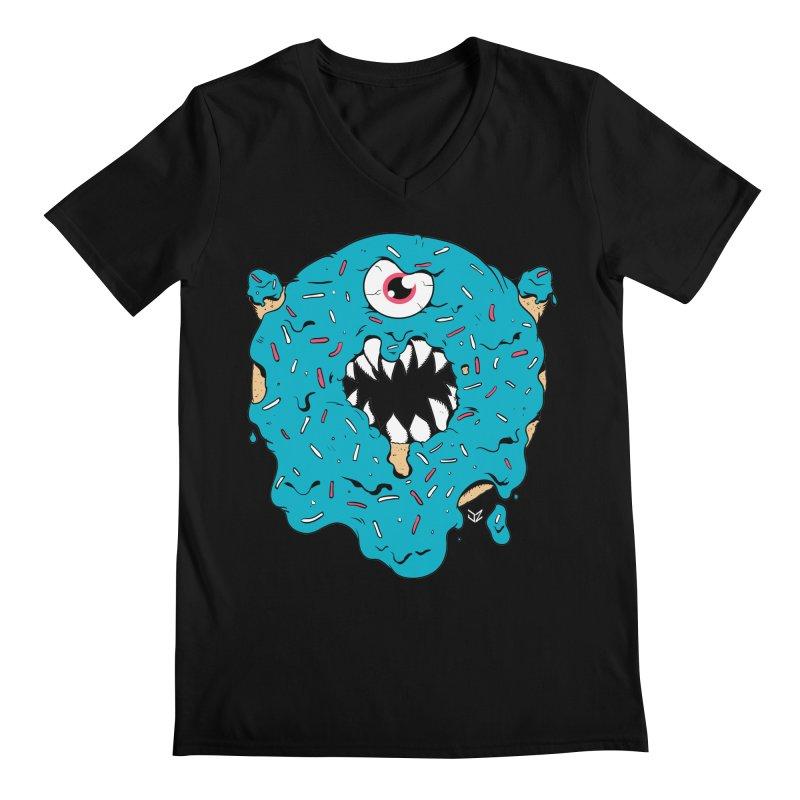 Demon Donut (blue) Men's V-Neck by James Zintel