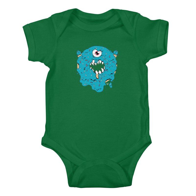 Demon Donut (blue) Kids Baby Bodysuit by James Zintel