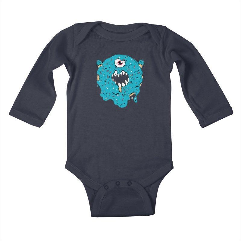 Demon Donut (blue) Kids Baby Longsleeve Bodysuit by James Zintel