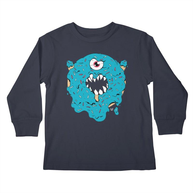 Demon Donut (blue) Kids Longsleeve T-Shirt by James Zintel