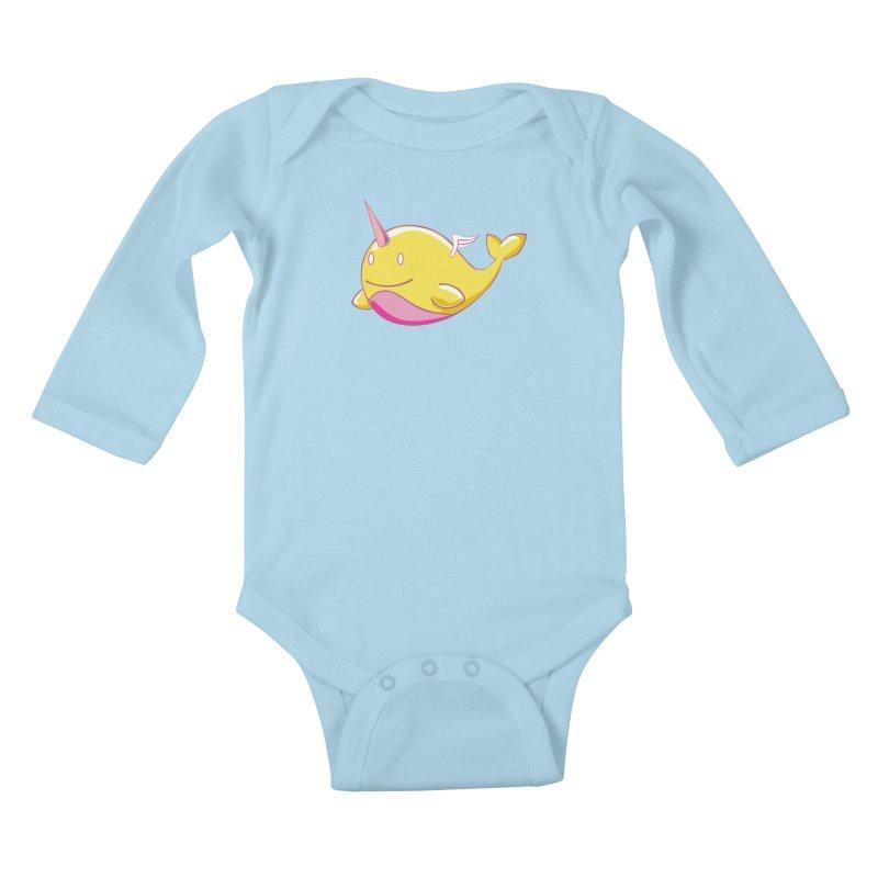 Adorablwhales - Narwhallace Kids Baby Longsleeve Bodysuit by James Zintel