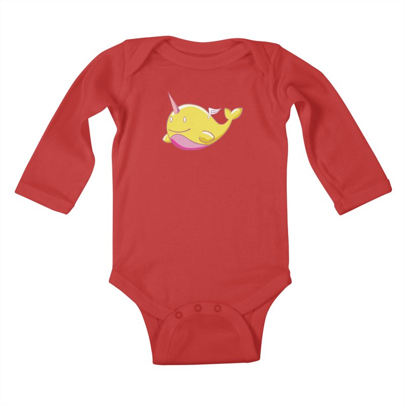 Adorablwhales - Narwhallace Kids Baby Longsleeve Bodysuit by James Zintel