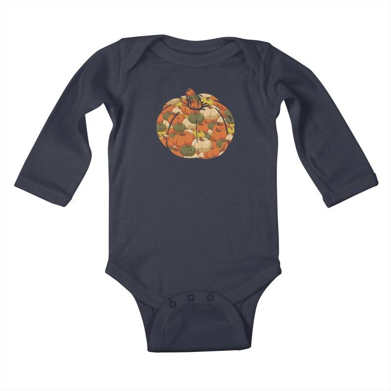 Pumpkin Pattern Kids Baby Longsleeve Bodysuit by James Zintel