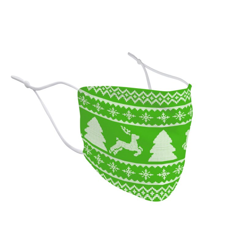Christmas Sweater - Deers and Such (Green) Accessories Face Mask by James Zintel
