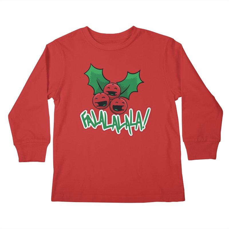 Holly Berries Kids Longsleeve T-Shirt by James Zintel