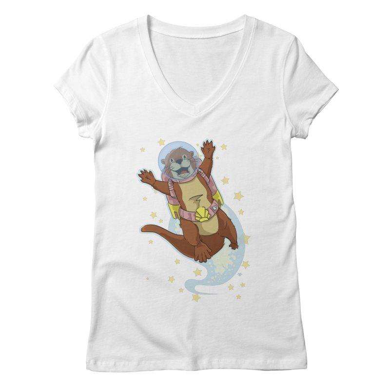 Otter Space 2.0 Women's V-Neck by James Zintel