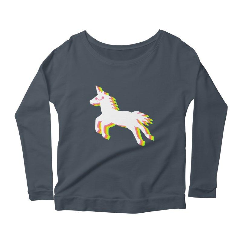 Derpy Unicorn Women's Longsleeve Scoopneck  by JC Design