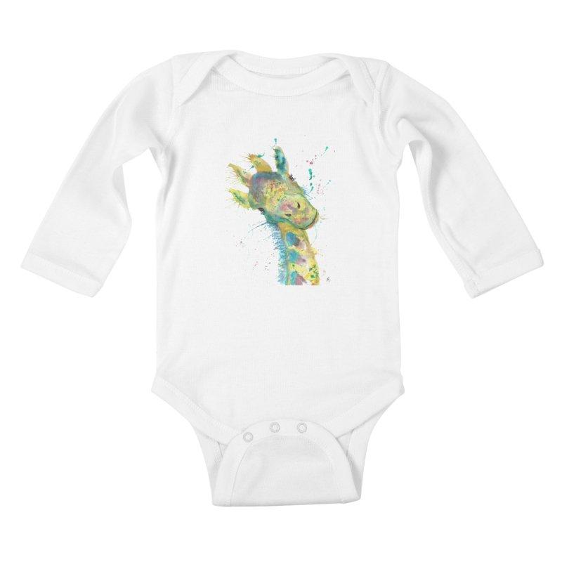 Hattie Giraffe Kids Baby Longsleeve Bodysuit by jamietaylorart's Artist Shop