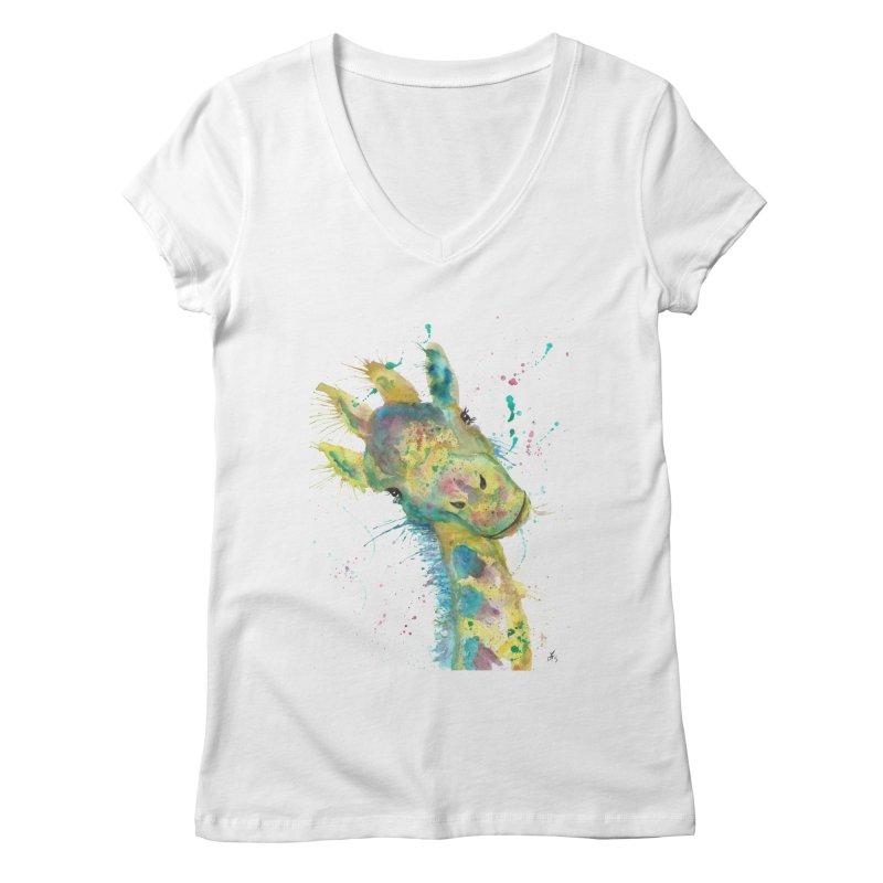 Hattie Giraffe Women's V-Neck by jamietaylorart's Artist Shop
