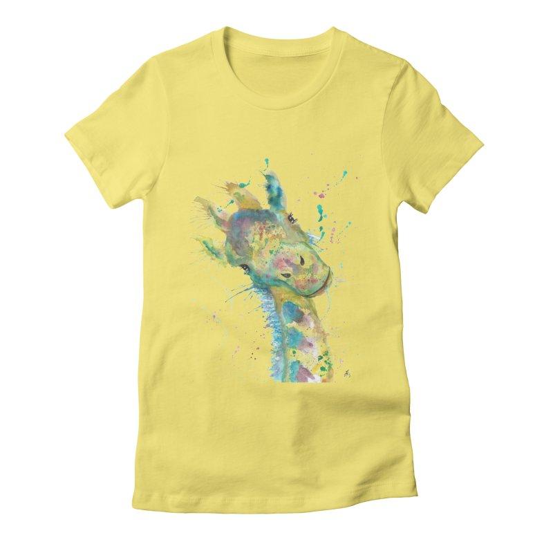 Hattie Giraffe Women's Fitted T-Shirt by jamietaylorart's Artist Shop