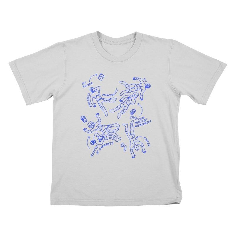 Wrestling Darkness Kids T-Shirt by Jamus + Adriana