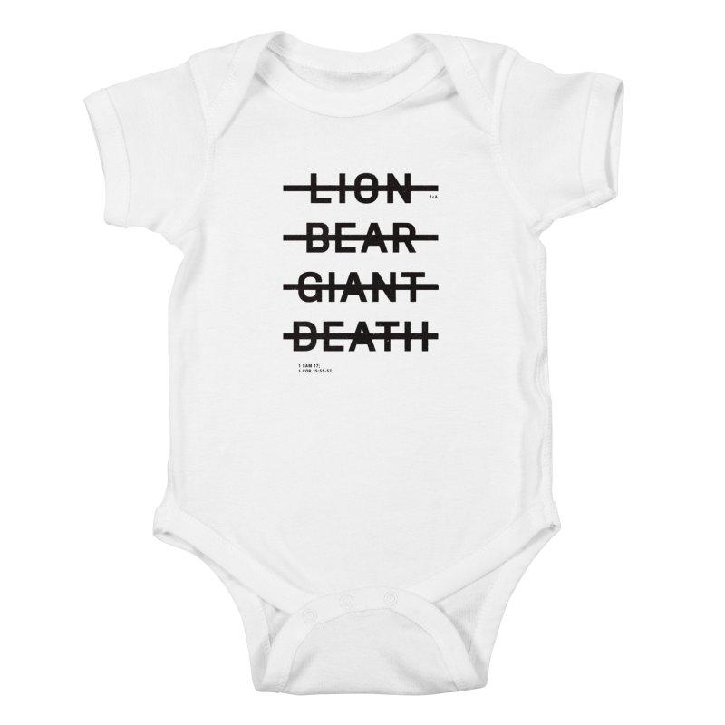 LION, BEAR, GIANT, DEATH Kids Baby Bodysuit by Jamus + Adriana