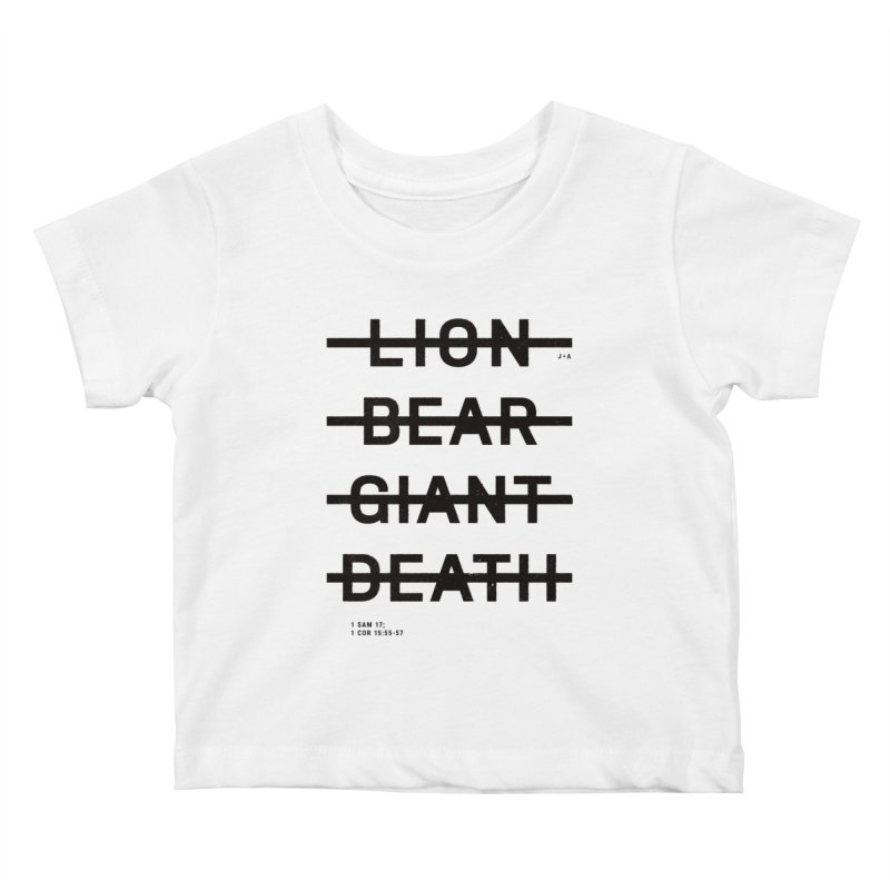 LION, BEAR, GIANT, DEATH Kids Baby T-Shirt by Jamus + Adriana