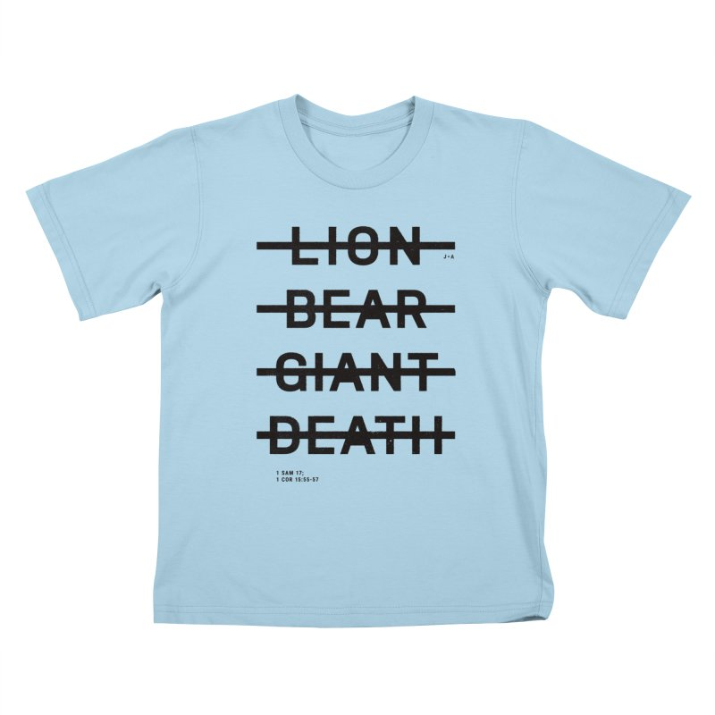 LION, BEAR, GIANT, DEATH Kids T-Shirt by Jamus + Adriana