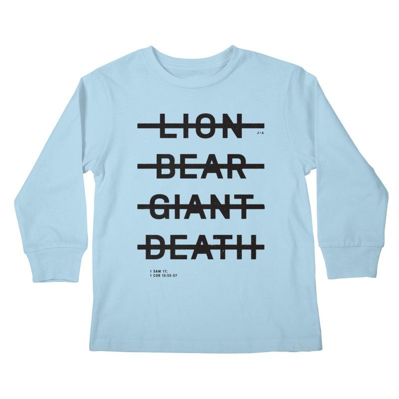 LION, BEAR, GIANT, DEATH Kids Longsleeve T-Shirt by Jamus + Adriana