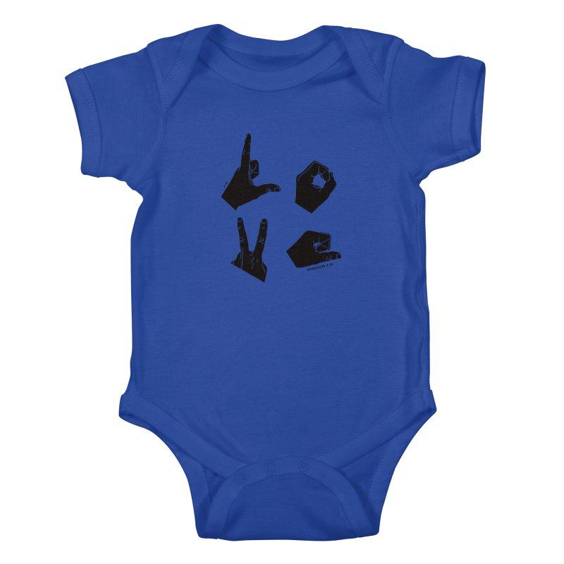 LOVE HANDS in Kids Baby Bodysuit Royal Blue by Jamus + Adriana