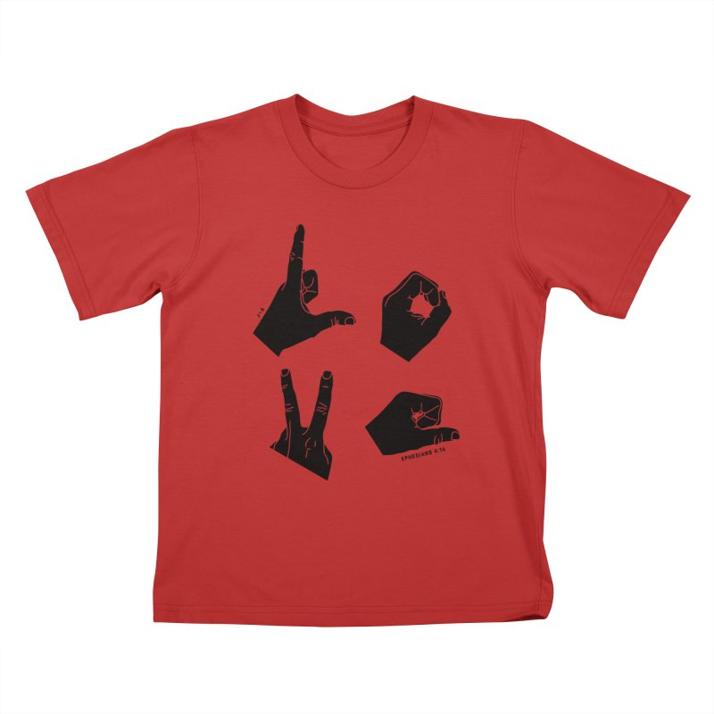 LOVE HANDS Kids T-Shirt by Jamus + Adriana