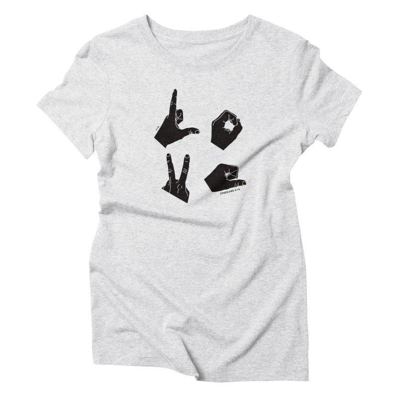 LOVE HANDS in Women's Triblend T-Shirt Heather White by Jamus + Adriana