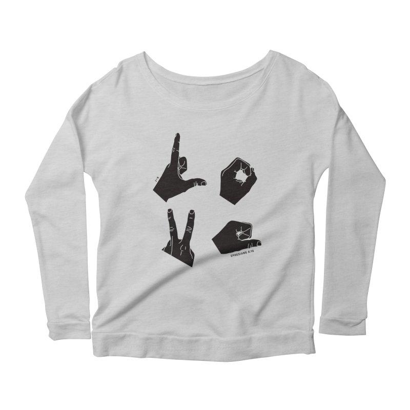 LOVE HANDS Women's Scoop Neck Longsleeve T-Shirt by Jamus + Adriana