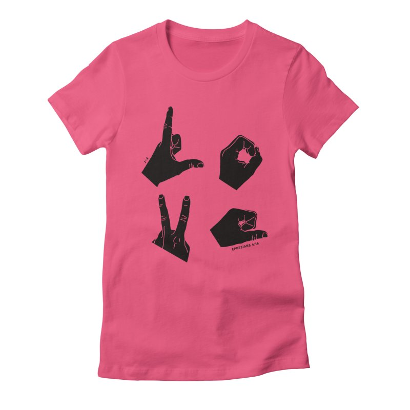 LOVE HANDS Women's Fitted T-Shirt by Jamus + Adriana