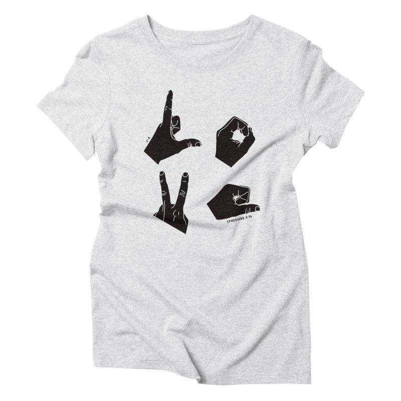 LOVE HANDS Women's Triblend T-Shirt by Jamus + Adriana