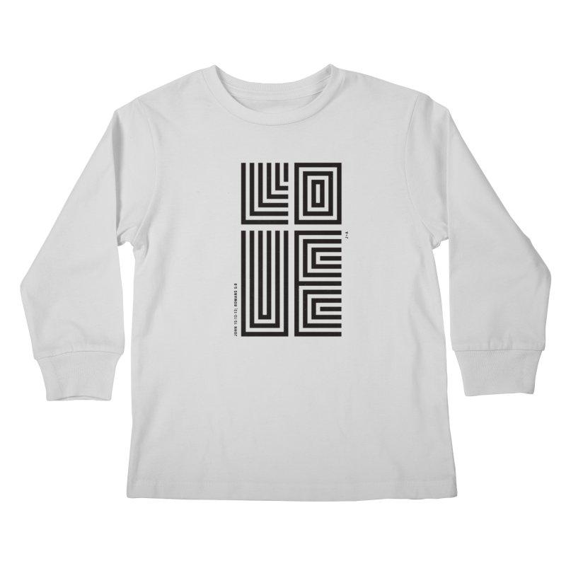 LOVE CROSS in Kids Longsleeve T-Shirt Heather Grey by Jamus + Adriana
