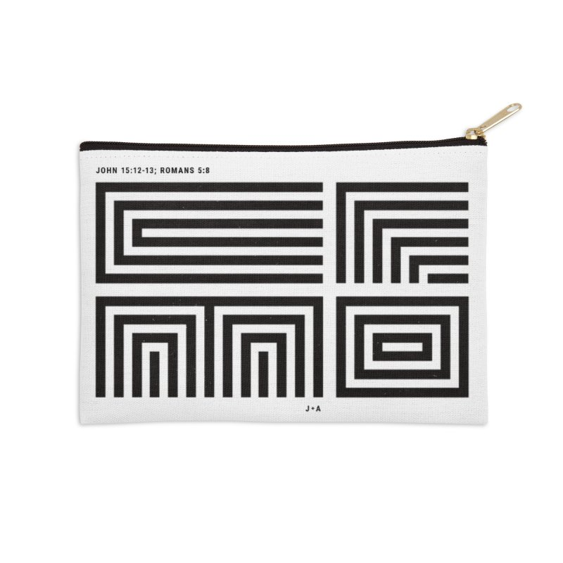 LOVE CROSS in Zip Pouch by Jamus + Adriana