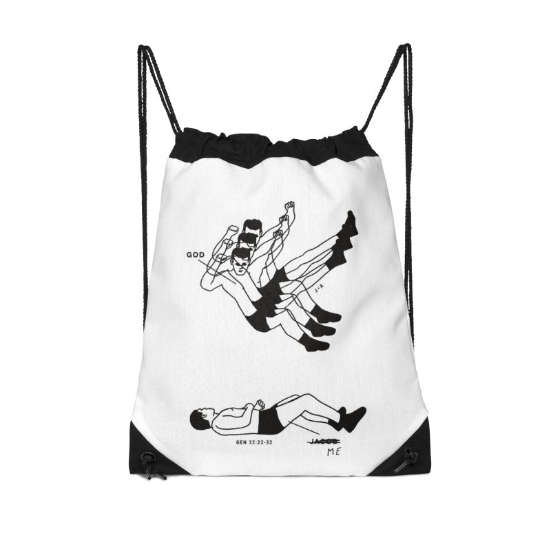 WRESTLING WITH GOD Accessories Drawstring Bag Bag by Jamus + Adriana