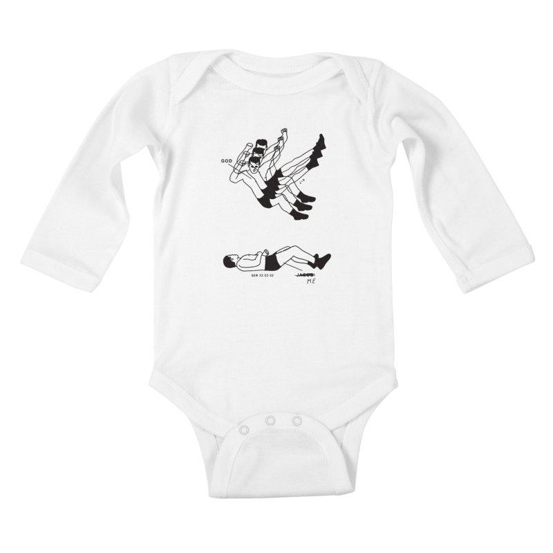 WRESTLING WITH GOD Kids Baby Longsleeve Bodysuit by Jamus + Adriana
