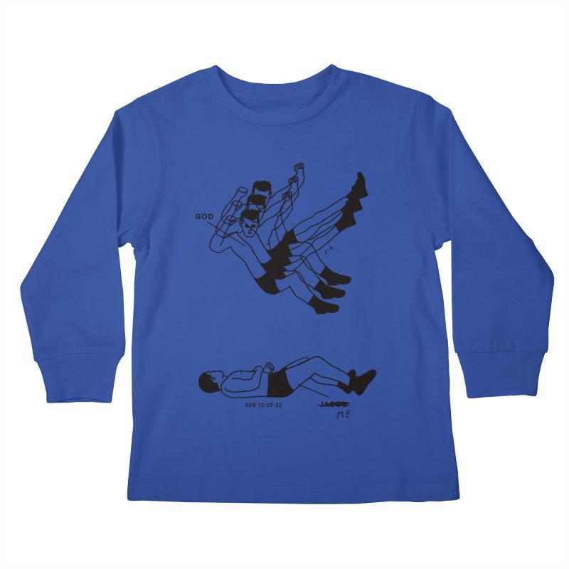 WRESTLING WITH GOD Kids Longsleeve T-Shirt by Jamus + Adriana