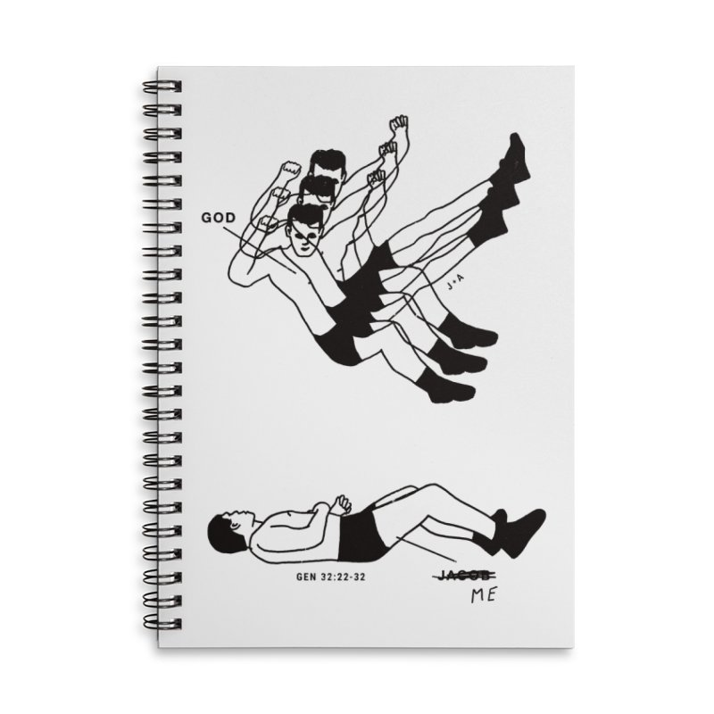 WRESTLING WITH GOD Accessories Lined Spiral Notebook by Jamus + Adriana